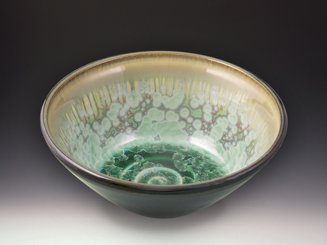 Medium Patina Crystal Dark Olive Bowl