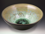 Large Patina Crystal Dark Olive Bowl